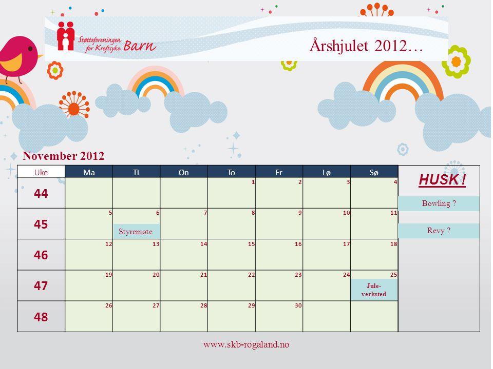 Årshjulet 2012… 44 45 46 47 48 HUSK ! November 2012