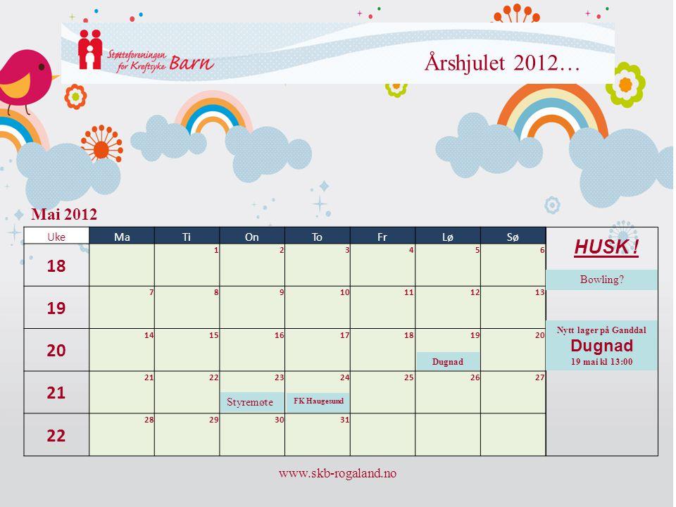 Årshjulet 2012… 18 19 20 21 HUSK ! Mai 2012 Dugnad www.skb-rogaland.no