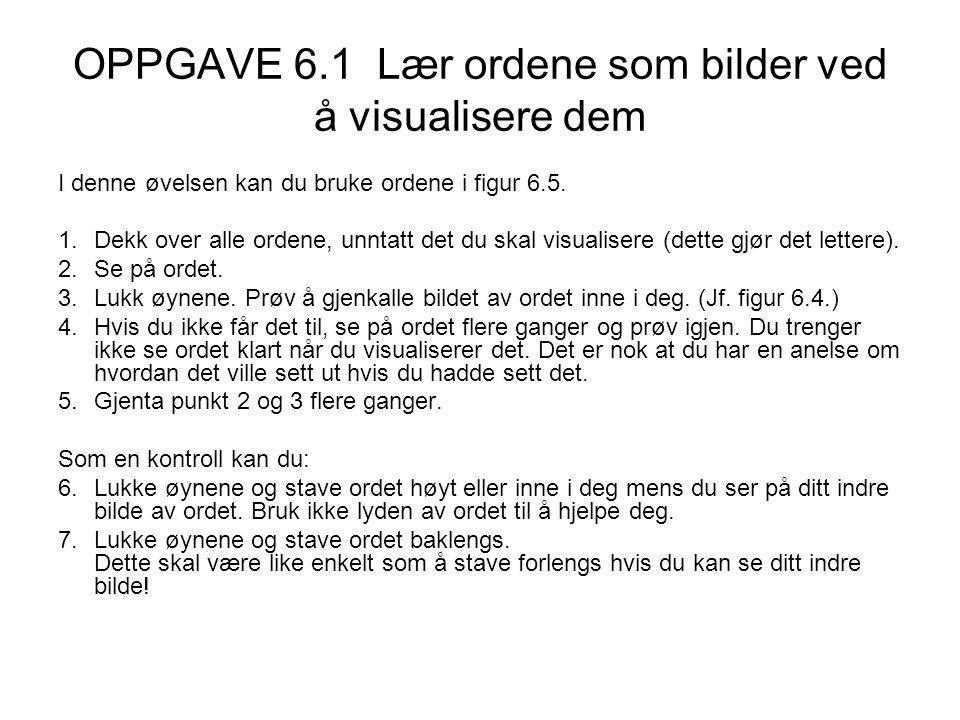 OPPGAVE 6.1 Lær ordene som bilder ved å visualisere dem