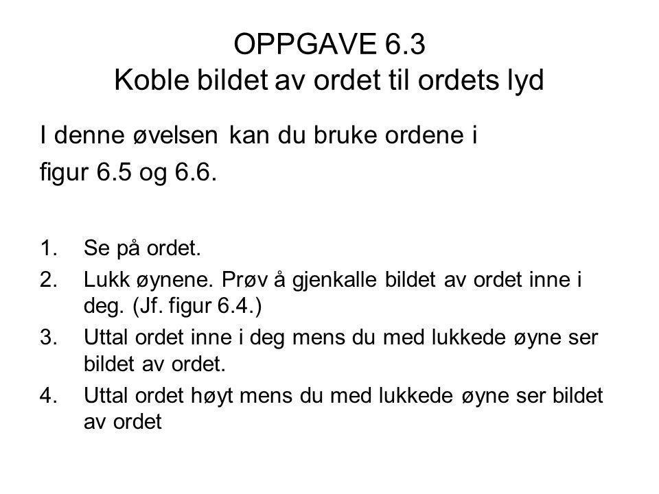 OPPGAVE 6.3 Koble bildet av ordet til ordets lyd