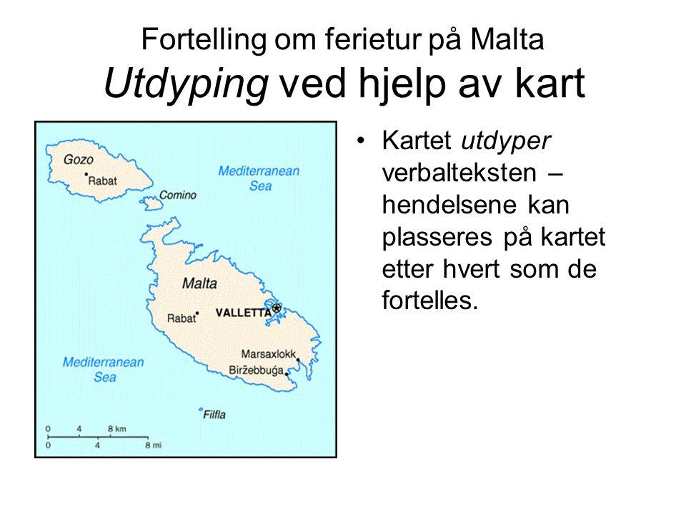 Fortelling om ferietur på Malta Utdyping ved hjelp av kart