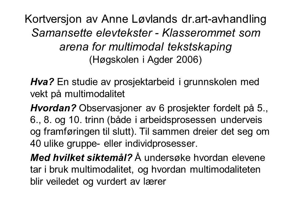 Kortversjon av Anne Løvlands dr