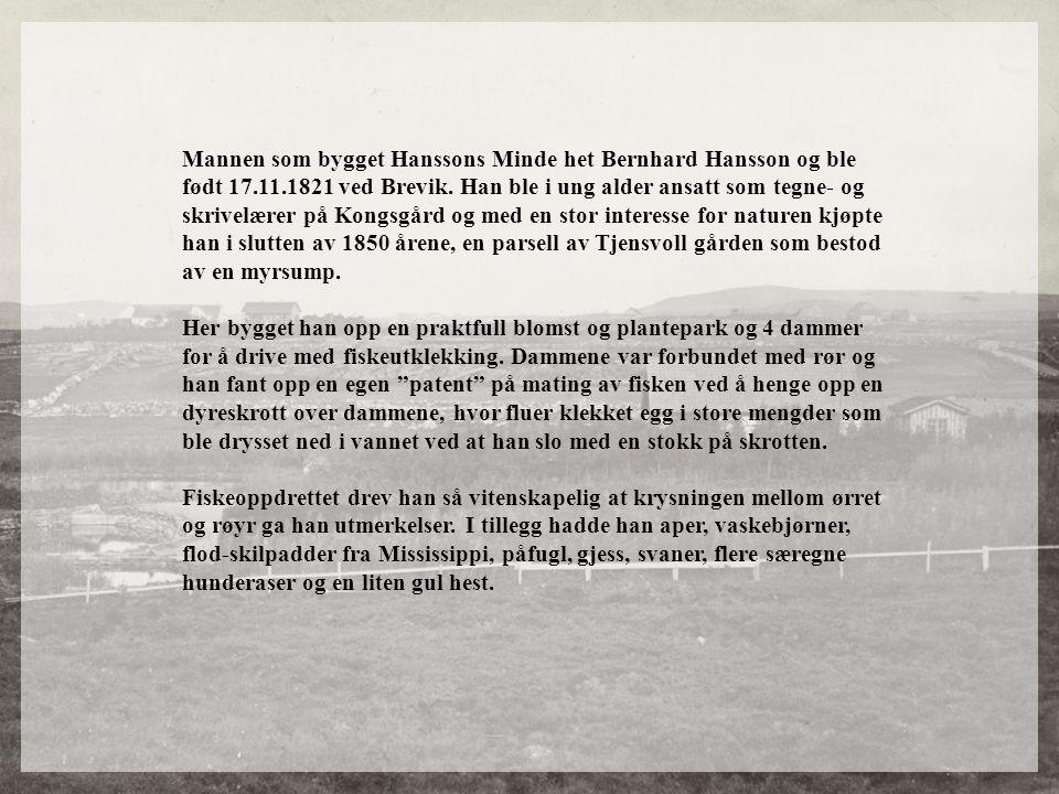 Mannen som bygget Hanssons Minde het Bernhard Hansson og ble født 17