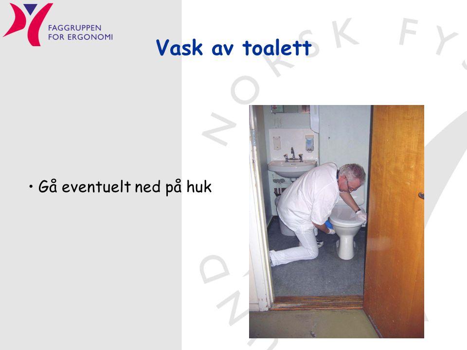 Vask av toalett Gå eventuelt ned på huk