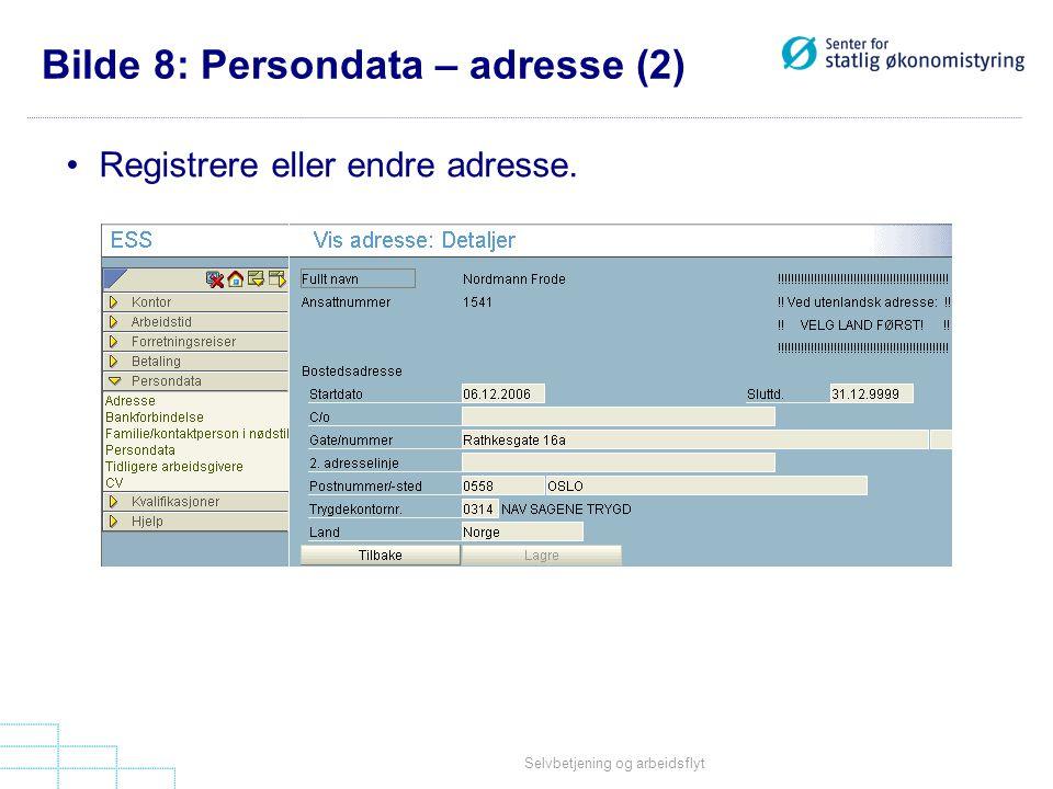 Bilde 8: Persondata – adresse (2)