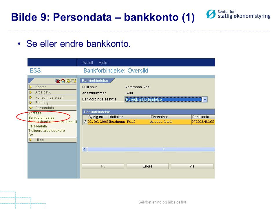 Bilde 9: Persondata – bankkonto (1)