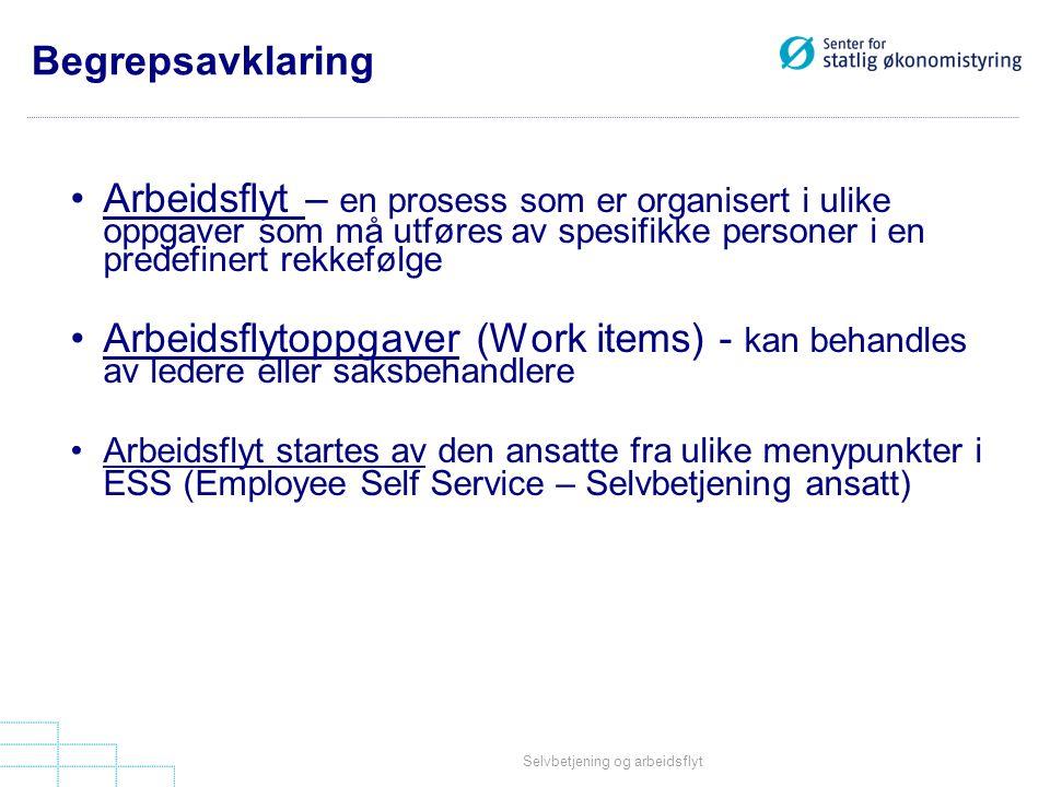 Begrepsavklaring Arbeidsflyt – en prosess som er organisert i ulike oppgaver som må utføres av spesifikke personer i en predefinert rekkefølge.