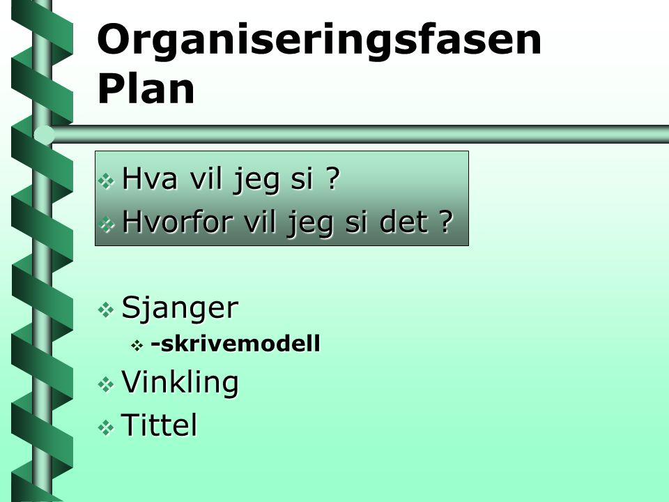 Organiseringsfasen Plan
