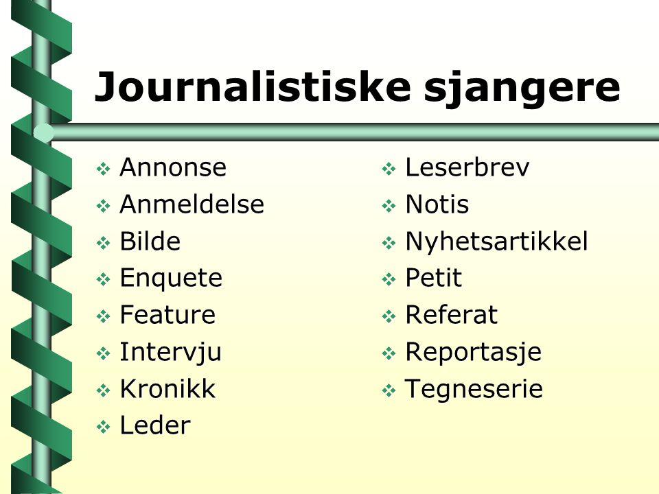 Journalistiske sjangere