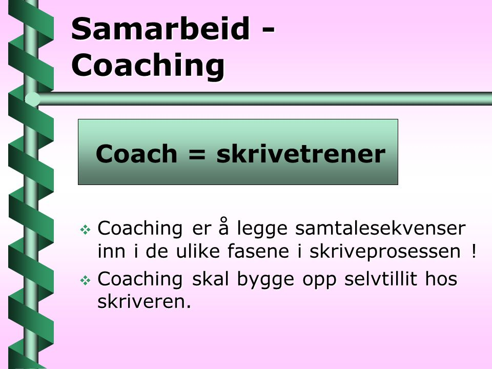 Samarbeid - Coaching Coach = skrivetrener