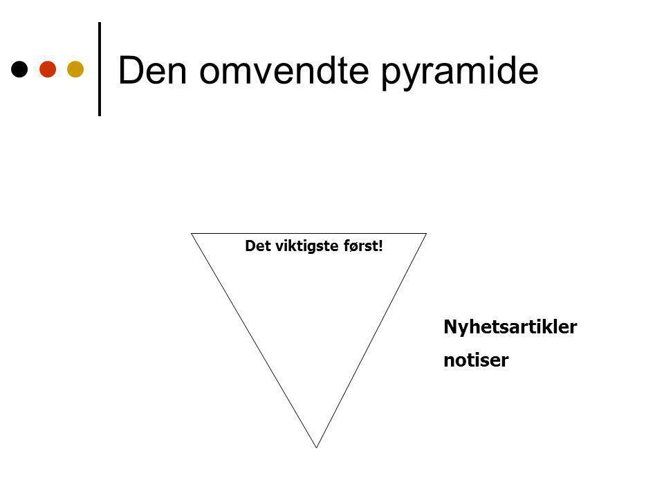 Den omvendte pyramide Det viktigste først! Nyhetsartikler notiser