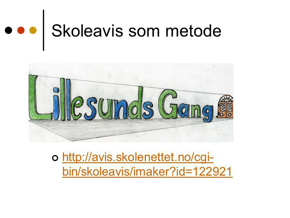 Skoleavis som metode http://avis.skolenettet.no/cgi-bin/skoleavis/imaker id=122921