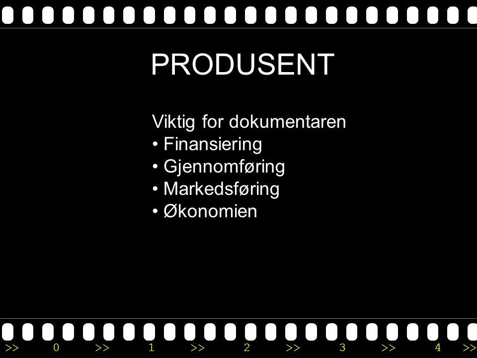 PRODUSENT Viktig for dokumentaren Finansiering Gjennomføring