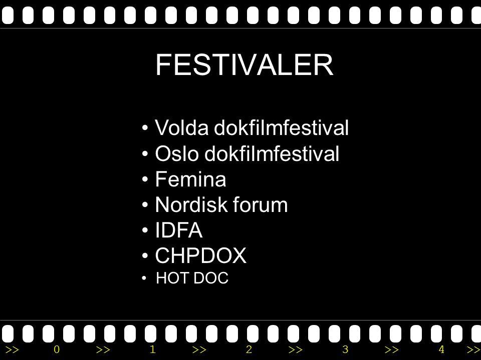 FESTIVALER Volda dokfilmfestival Oslo dokfilmfestival Femina