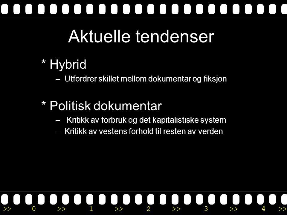 Aktuelle tendenser * Hybrid * Politisk dokumentar