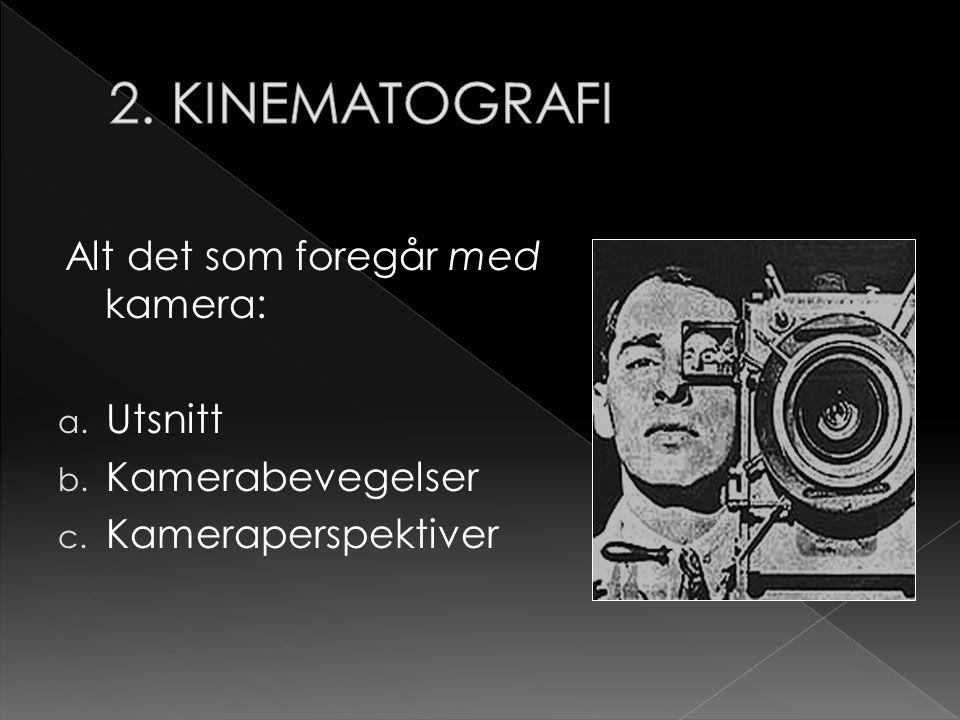 2. KINEMATOGRAFI Alt det som foregår med kamera: Utsnitt