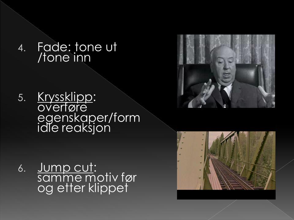 Fade: tone ut /tone inn Kryssklipp: overføre egenskaper/formidle reaksjon.