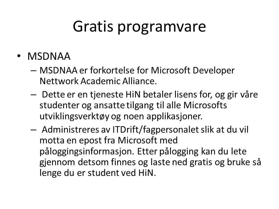 Gratis programvare MSDNAA