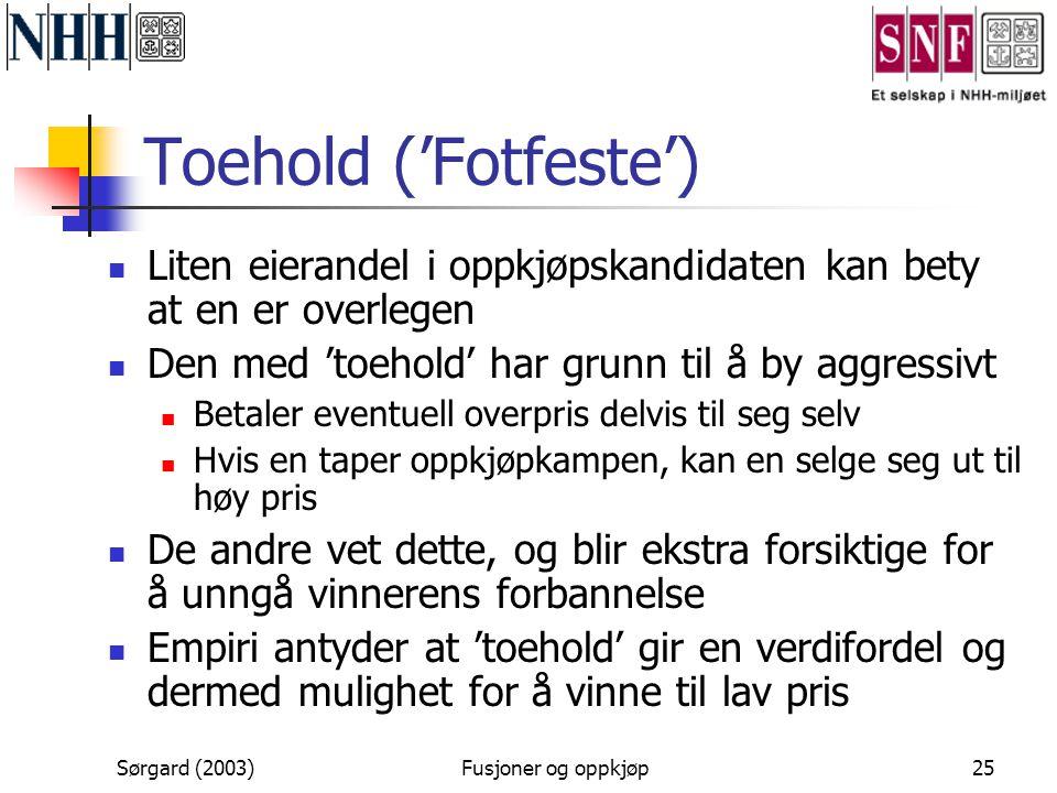 Toehold ('Fotfeste') Liten eierandel i oppkjøpskandidaten kan bety at en er overlegen. Den med 'toehold' har grunn til å by aggressivt.