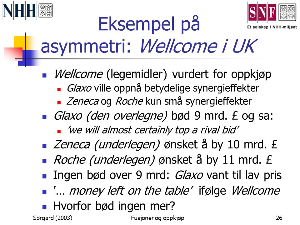 Eksempel på asymmetri: Wellcome i UK