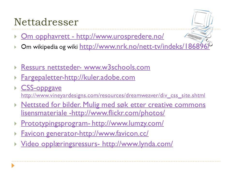 Nettadresser Om opphavrett - http://www.urospredere.no/