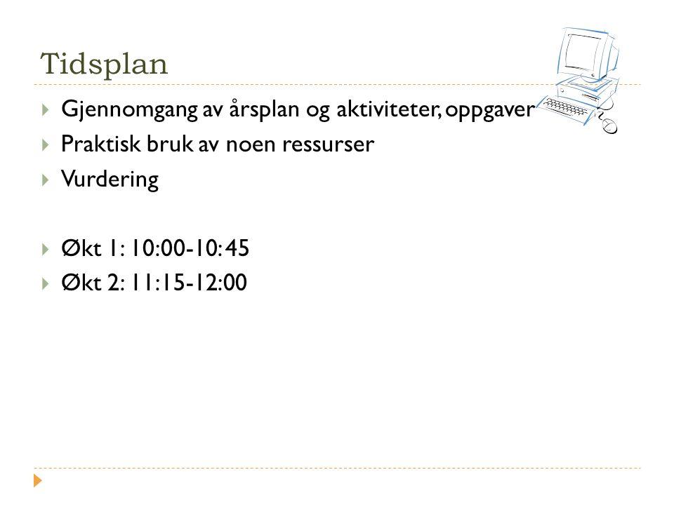Tidsplan Gjennomgang av årsplan og aktiviteter, oppgaver