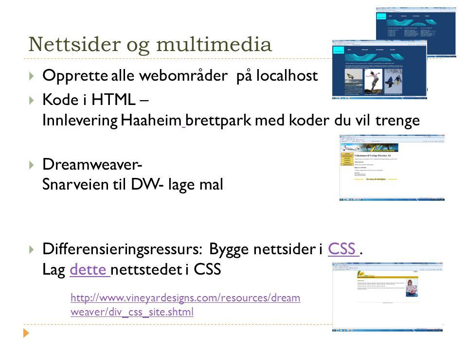 Nettsider og multimedia