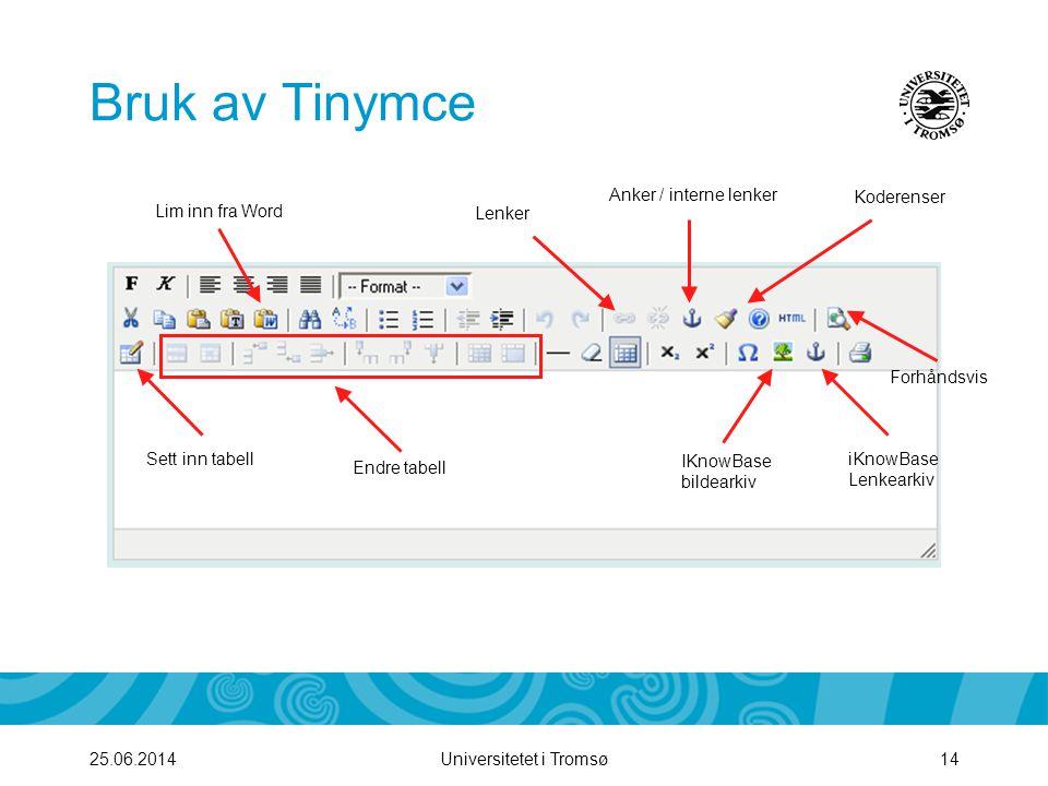 Bruk av Tinymce Anker / interne lenker Koderenser Lim inn fra Word
