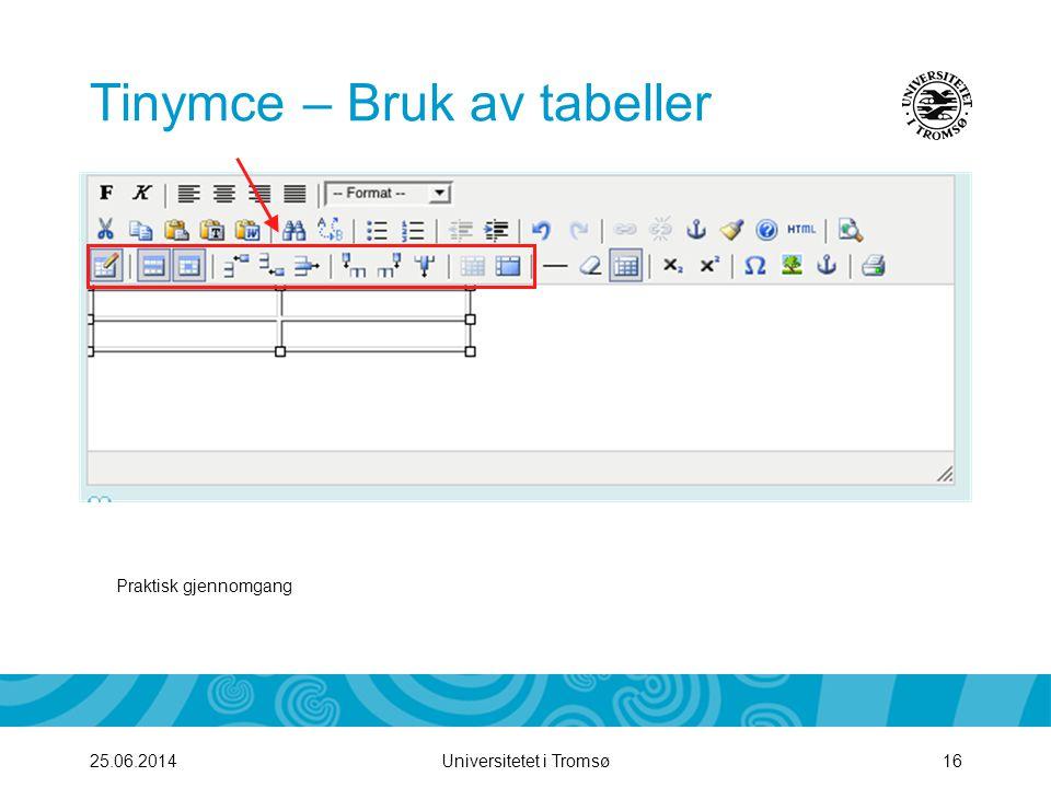 Tinymce – Bruk av tabeller
