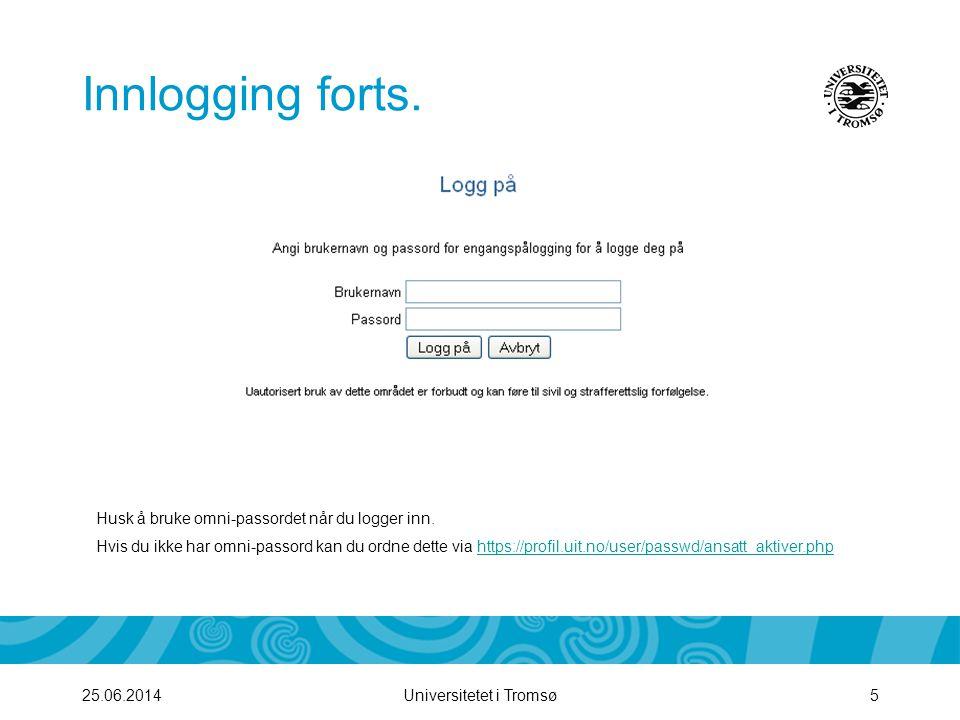 Innlogging forts. Husk å bruke omni-passordet når du logger inn.