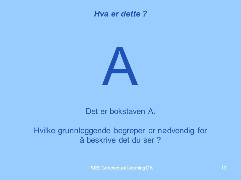 A Hva er dette Det er bokstaven A.