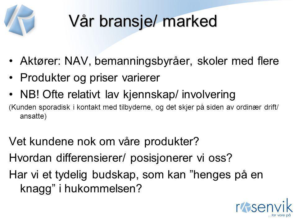 Vår bransje/ marked Aktører: NAV, bemanningsbyråer, skoler med flere