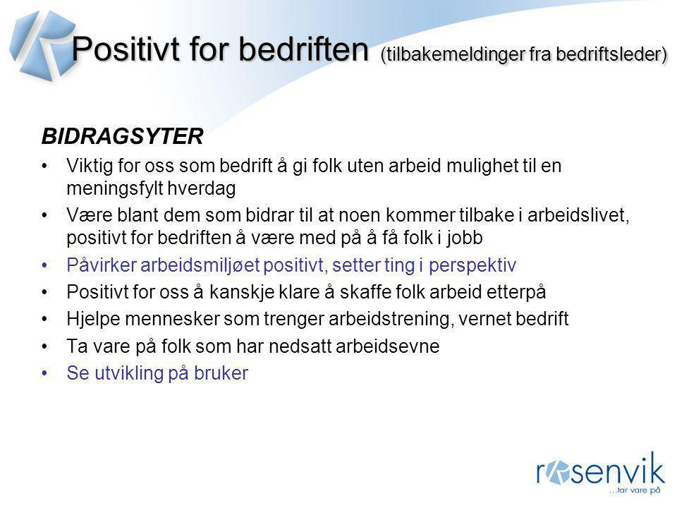 Positivt for bedriften (tilbakemeldinger fra bedriftsleder)