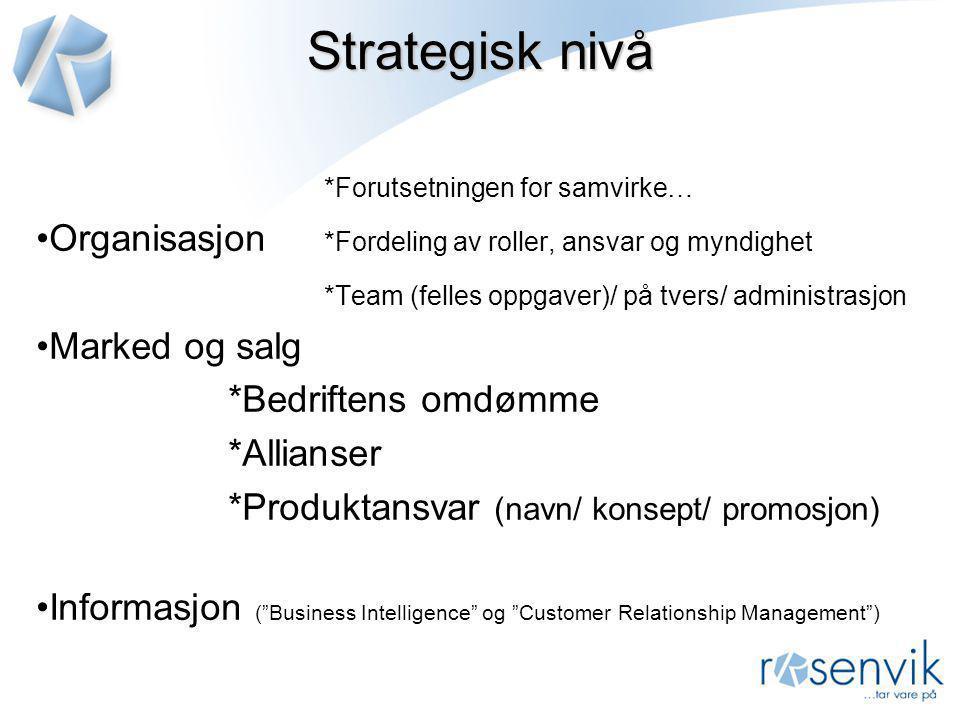 Strategisk nivå *Forutsetningen for samvirke…