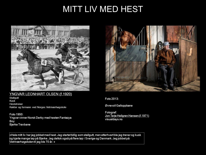 MITT LIV MED HEST YNGVAR LEONHART OLSEN (f.1920) Foto 2013: