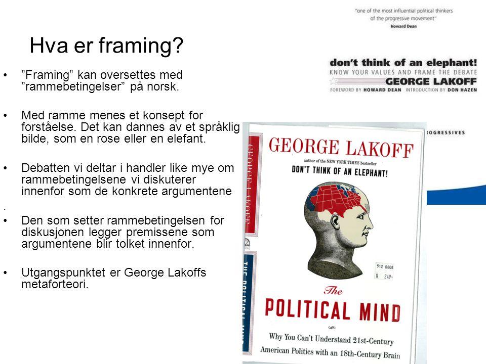 Hva er framing Framing kan oversettes med rammebetingelser på norsk.