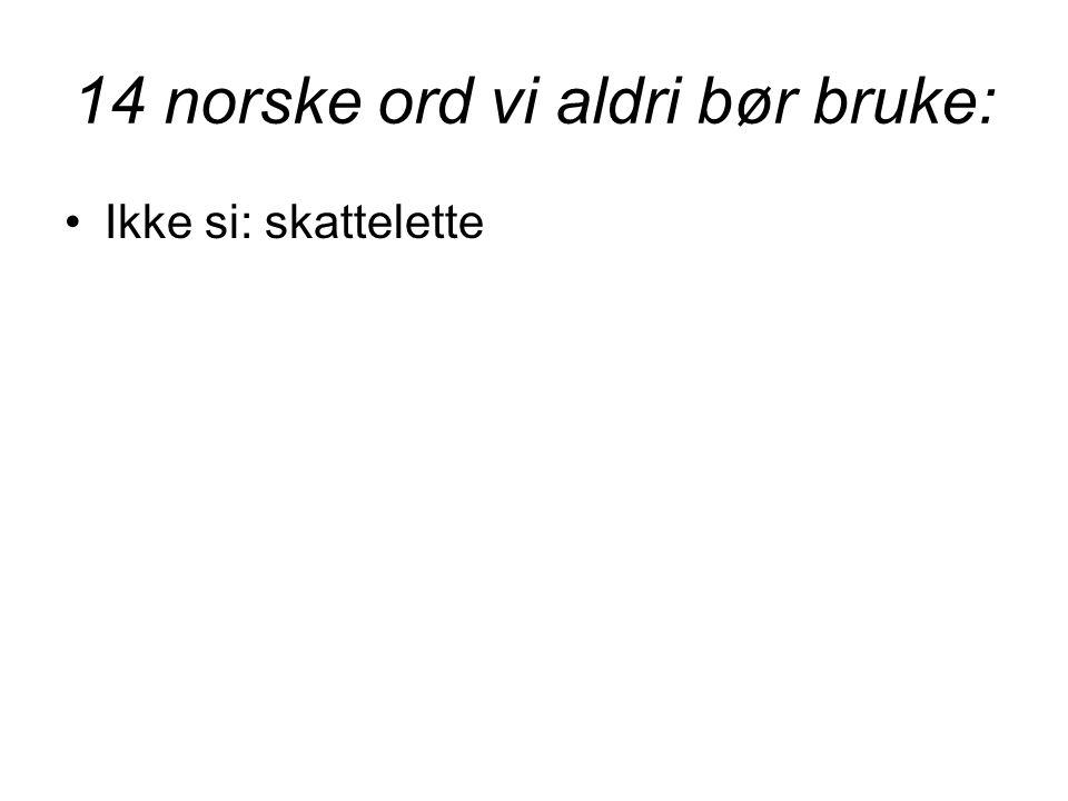 14 norske ord vi aldri bør bruke: