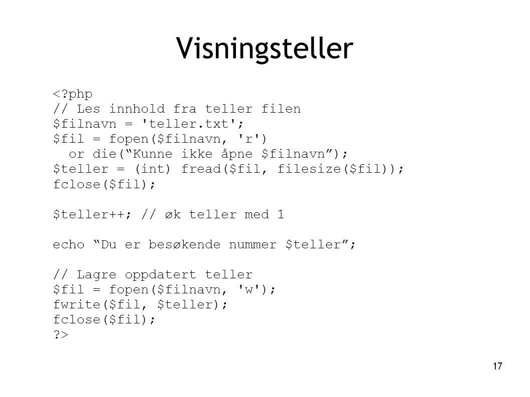 Visningsteller < php // Les innhold fra teller filen