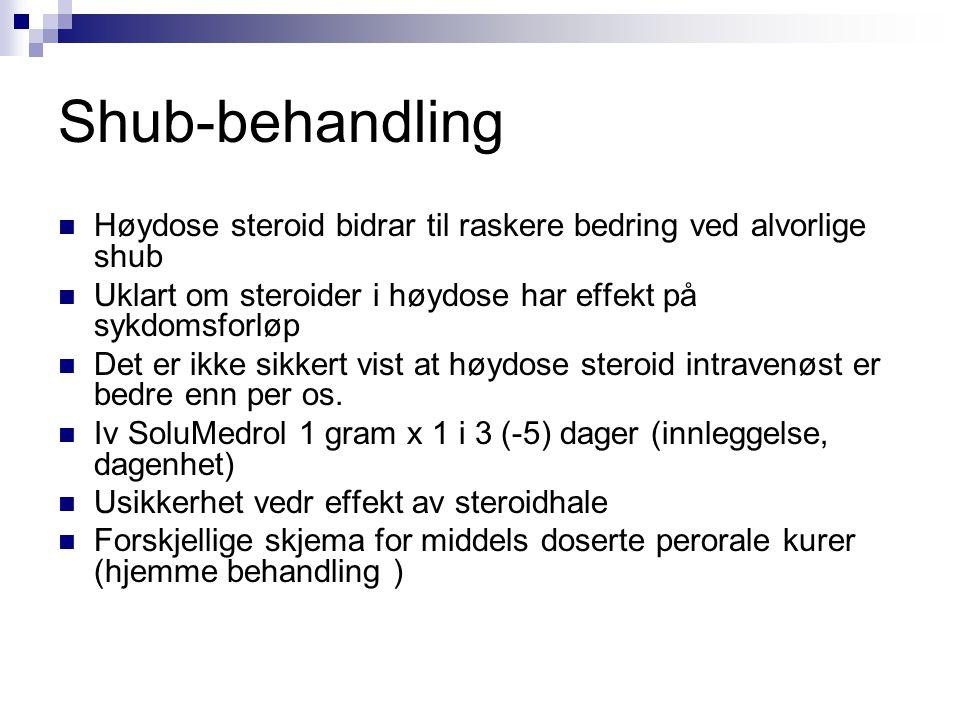 Shub-behandling Høydose steroid bidrar til raskere bedring ved alvorlige shub. Uklart om steroider i høydose har effekt på sykdomsforløp.