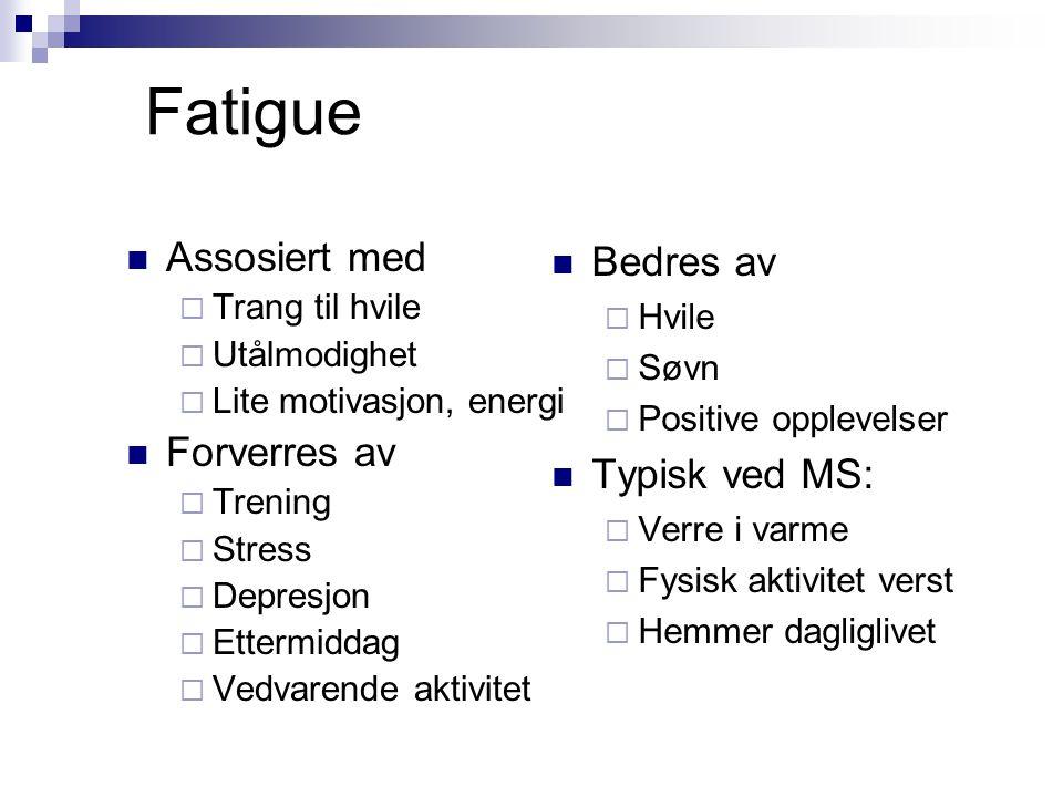 Fatigue Assosiert med Forverres av Bedres av Typisk ved MS: