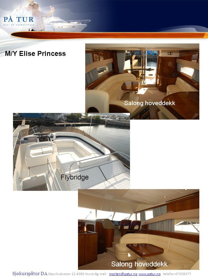 M/Y Elise Princess Lugar baug Dusj hoveddekk Flybridge Nedre salong
