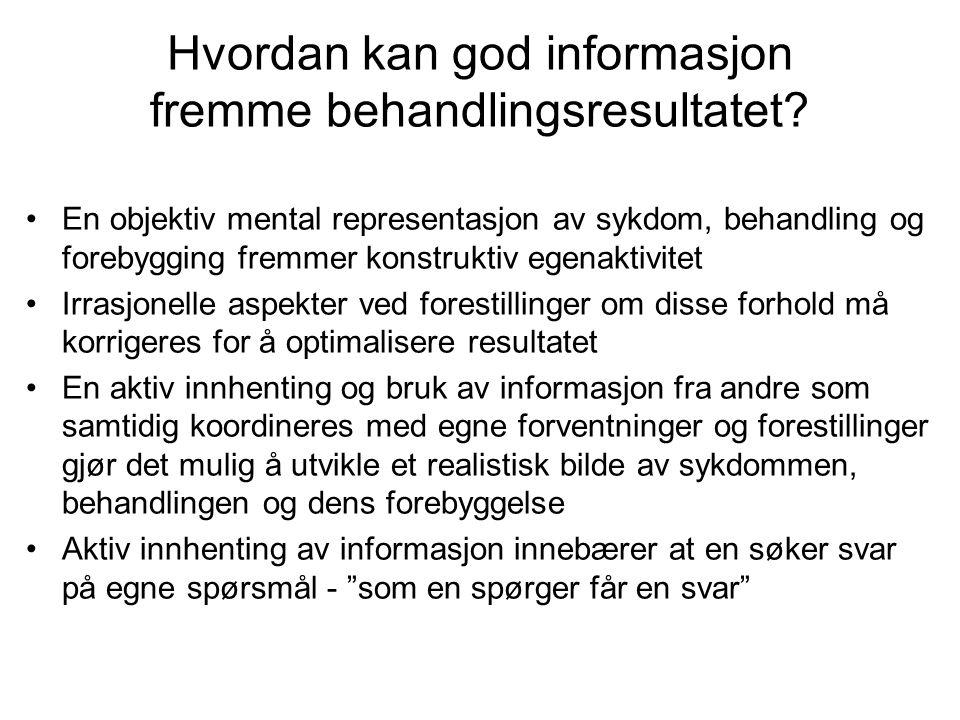 Hvordan kan god informasjon fremme behandlingsresultatet