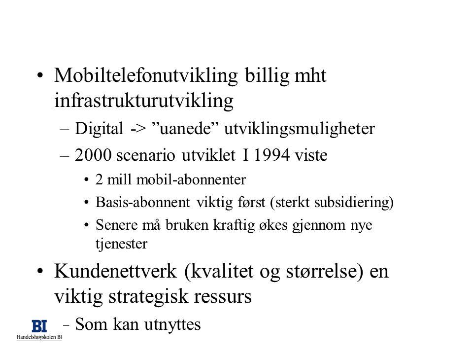 Mobiltelefonutvikling billig mht infrastrukturutvikling