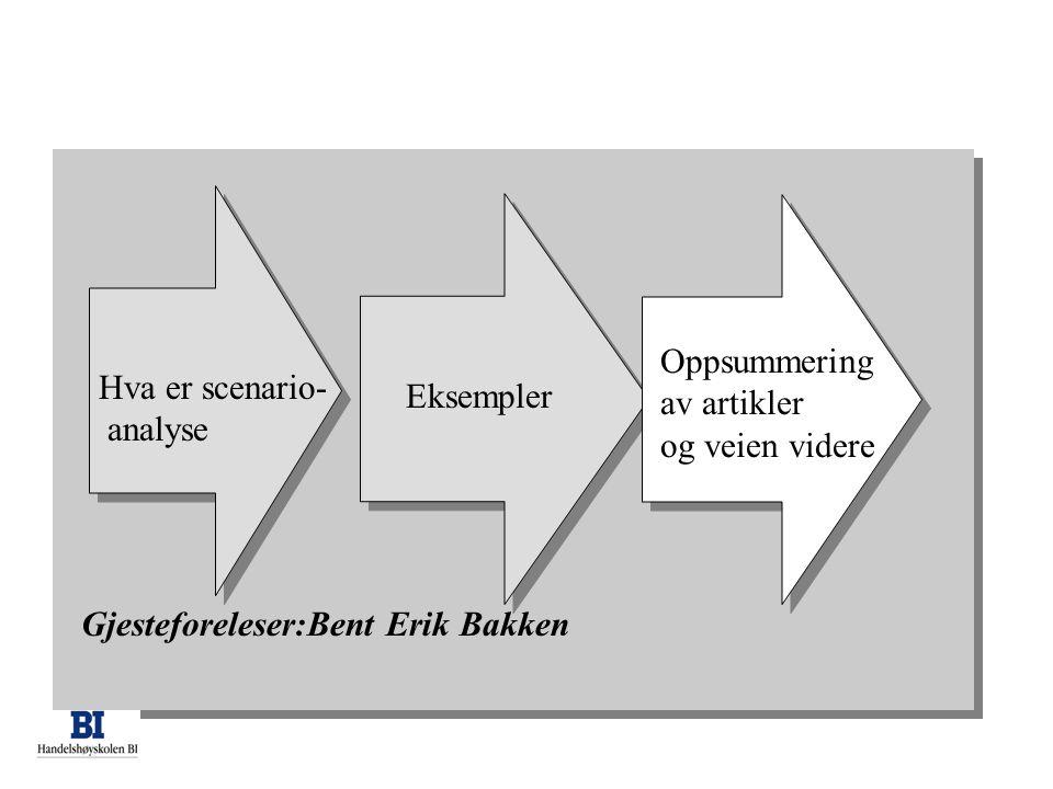 Oppsummering av artikler. og veien videre. Hva er scenario- analyse.