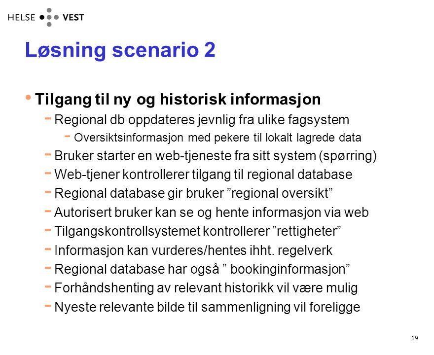 Løsning scenario 2 Tilgang til ny og historisk informasjon