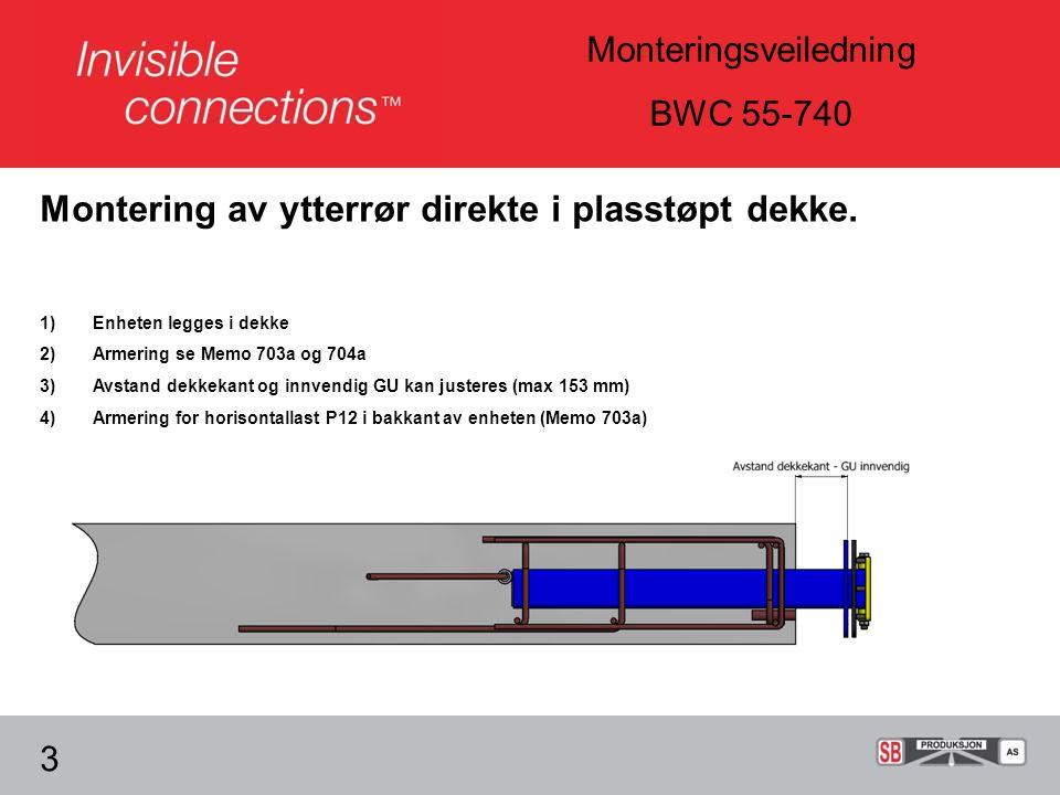 Montering av ytterrør direkte i plasstøpt dekke.