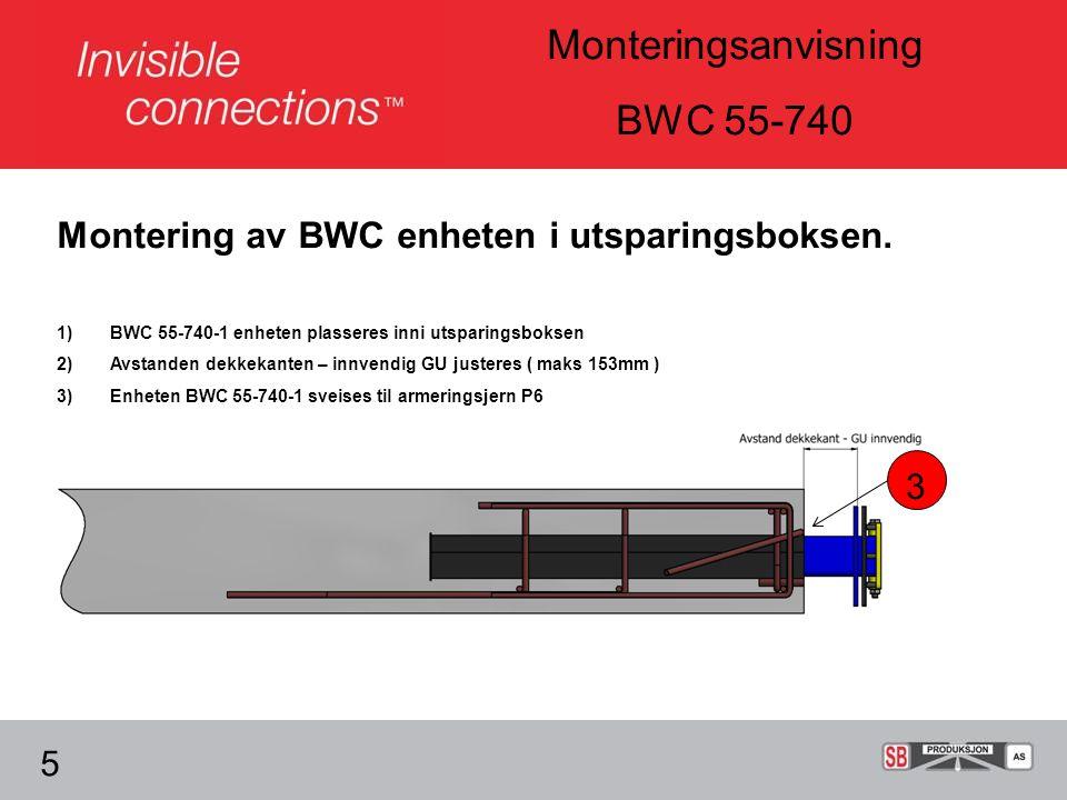 Montering av BWC enheten i utsparingsboksen.