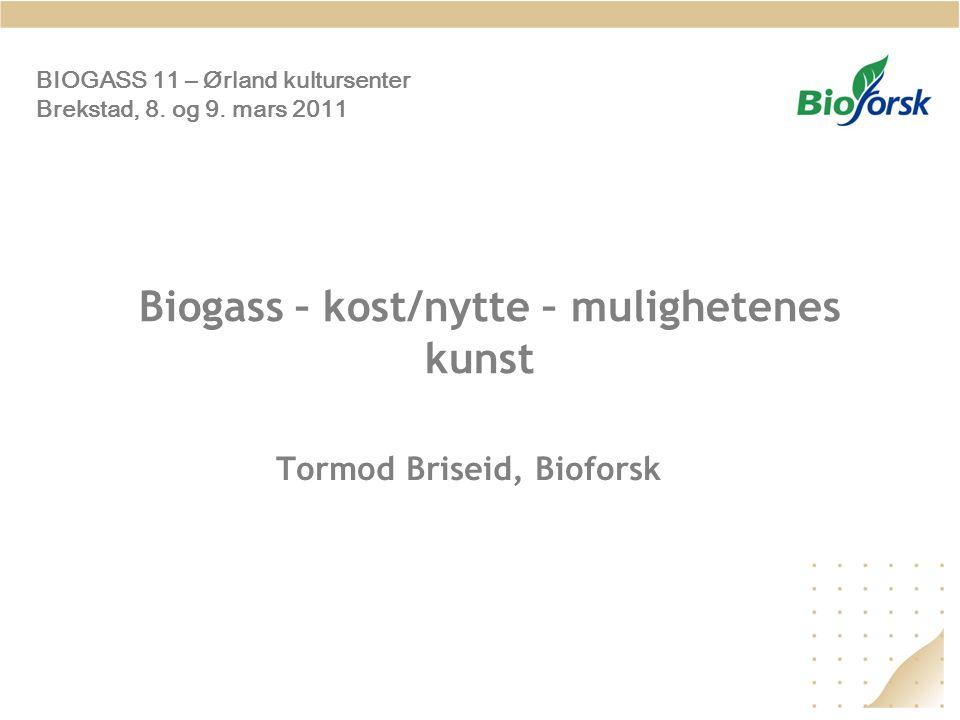 Biogass – kost/nytte – mulighetenes kunst