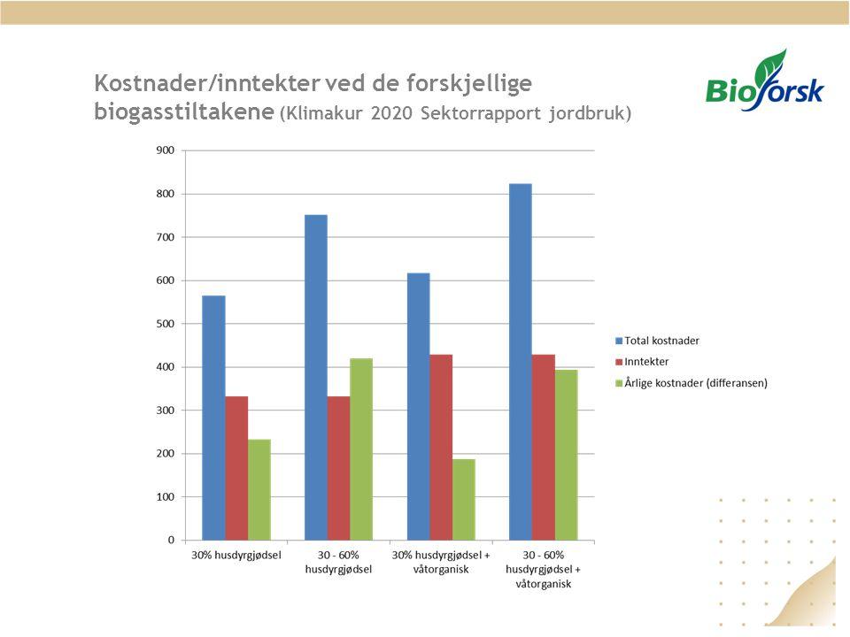Kostnader/inntekter ved de forskjellige biogasstiltakene (Klimakur 2020 Sektorrapport jordbruk)