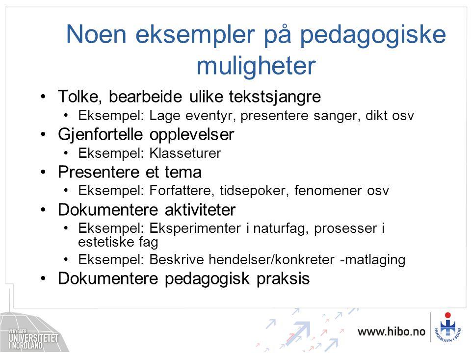 Noen eksempler på pedagogiske muligheter